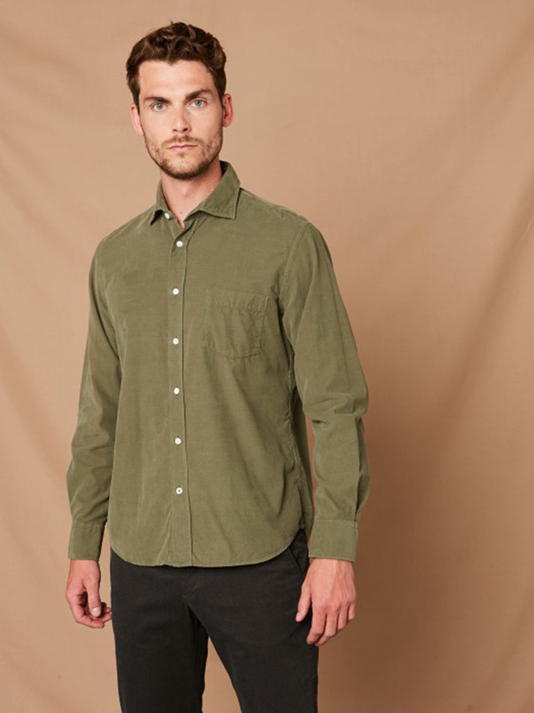 Hartford Paul Corduroy Shirt in Green