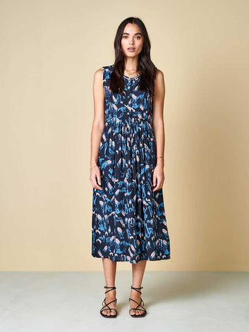 Bellerose Hoor Midi Dress in Navy, Sky and Pink