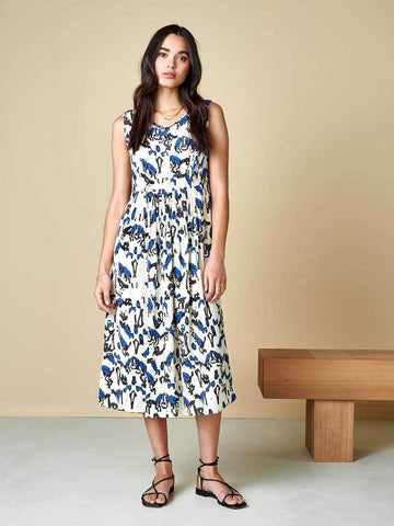 Bellerose Hoor Midi Dress in Cream, Blue and Black