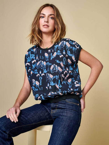 Bellerose Hafsah Top in Navy, Sky and Pink
