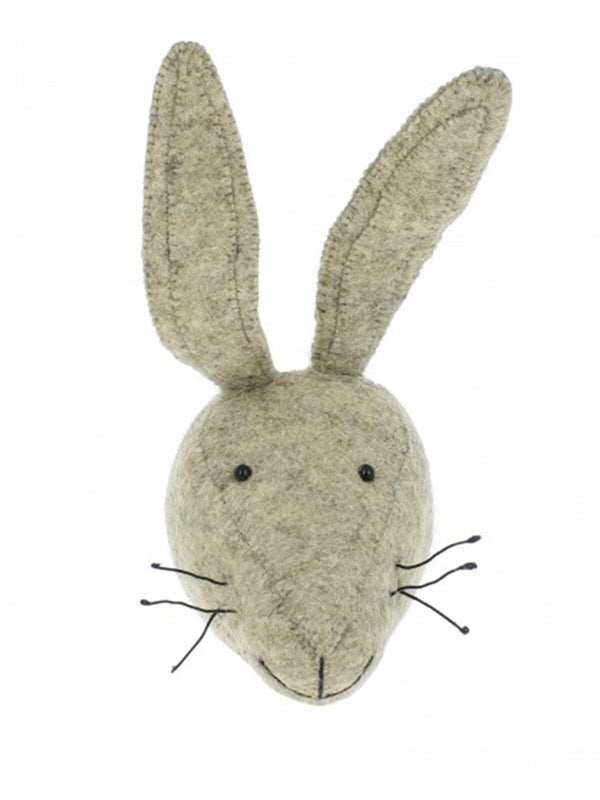 Fiona Walker Mini Hare Head in Grey