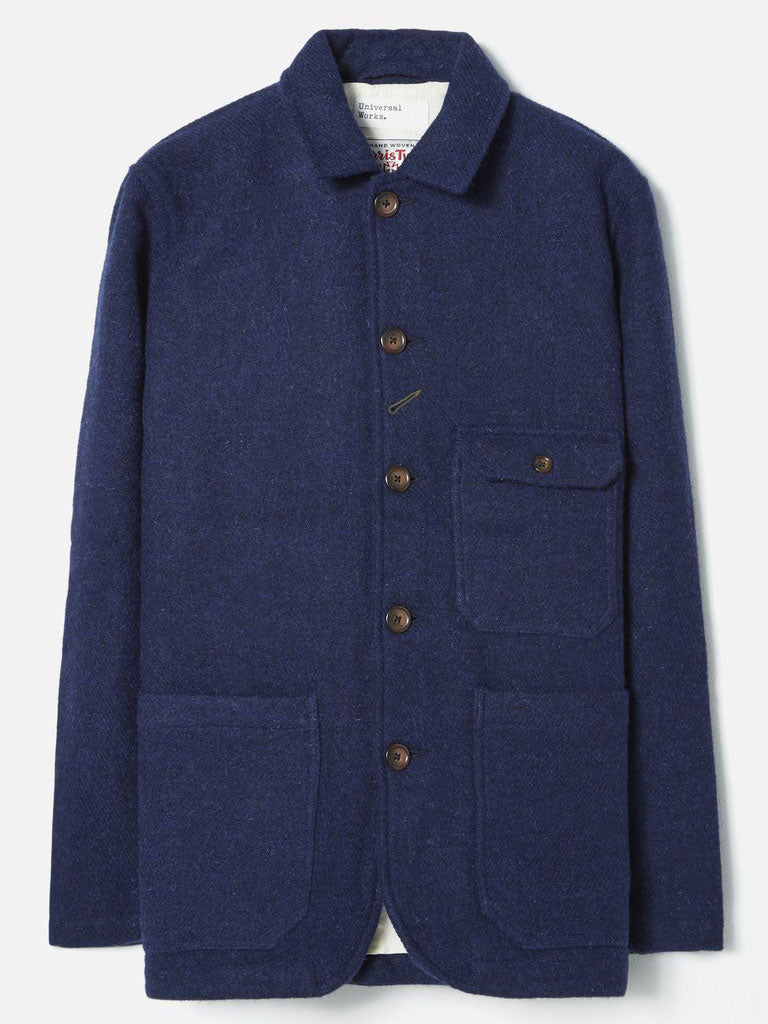 Universal Works Norfolk Bakers Jacket in Indigo Harris Tweed