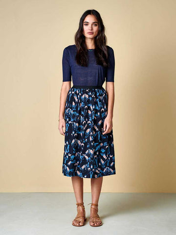 Bellerose Houx Midi Skirt in Navy, Sky and Pink