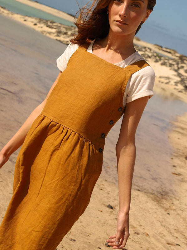Indi & Cold Linen Pinafore Dress in Amber