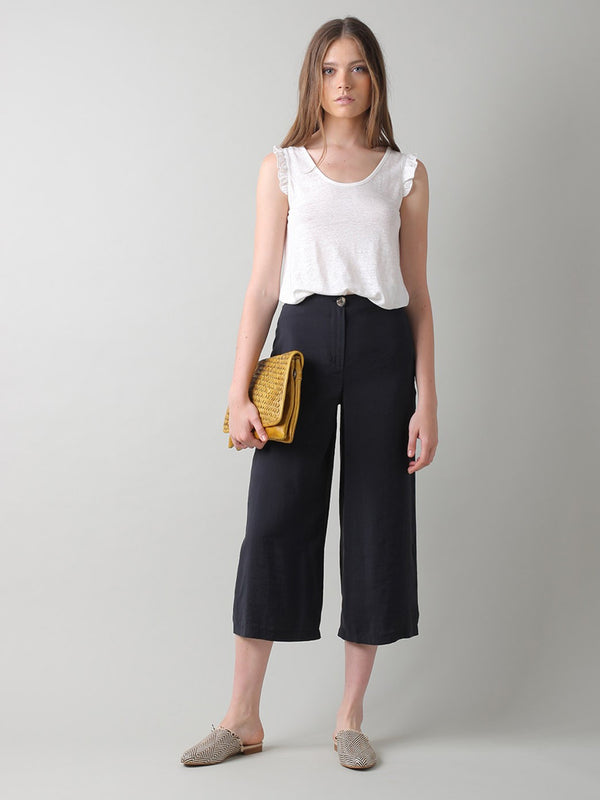 Indi & Cold Crop Trousers in Washed Black