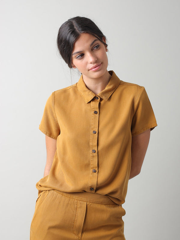 Indi & Cold Daisy Lyocell Shirt in Amber
