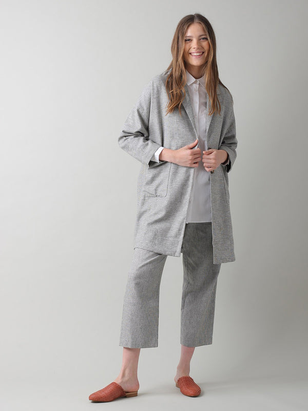 Indi & Cold Oversized Linen Jacket in Piedra