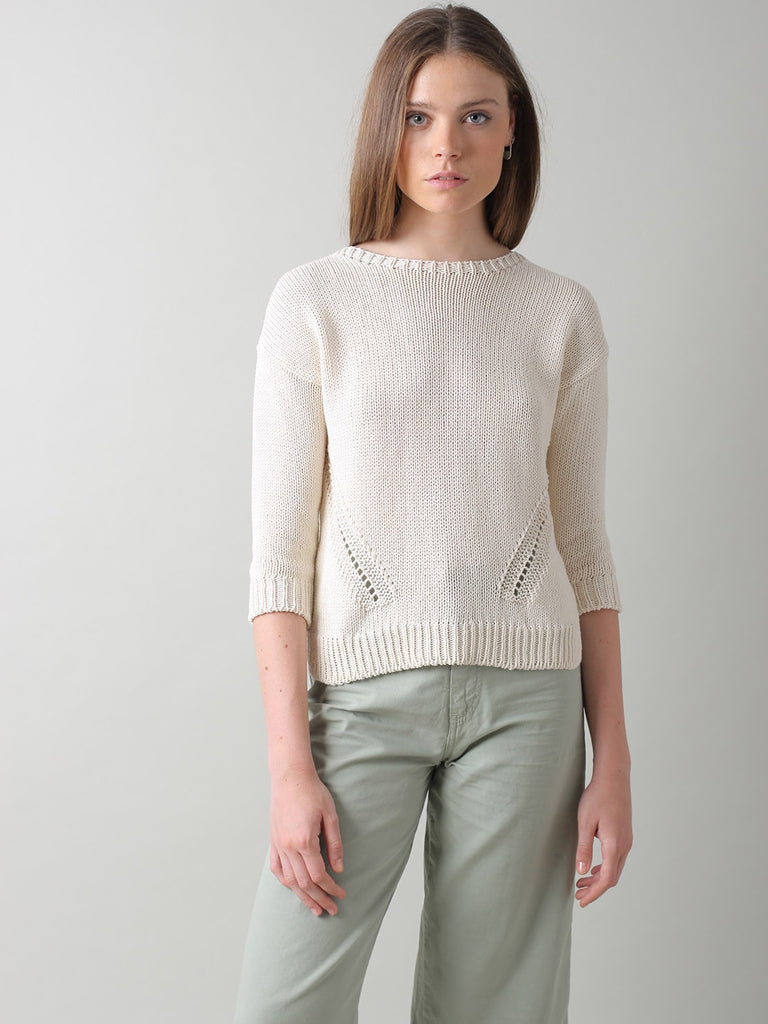 Indi & Cold Recycled Cotton Sweater in Crudo