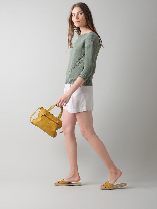 Indi & Cold Recycled Cotton Sweater in Khaki