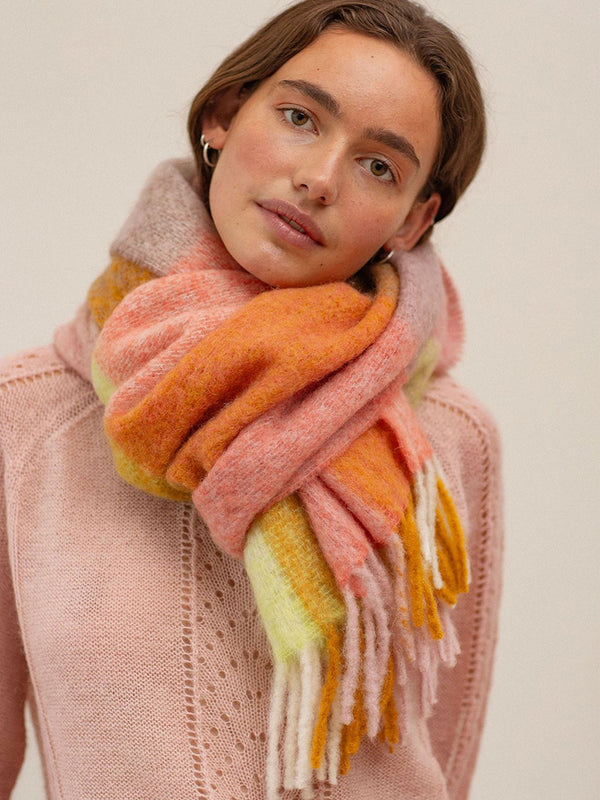 Becksondergaard Check Ingria Scarf in Rose