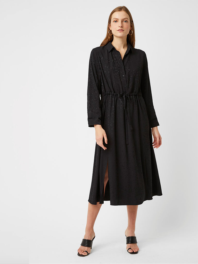 Great Plains Peppy Jacquard Shirt Dress in Black