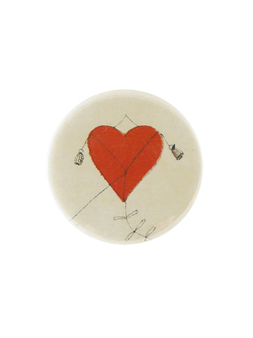 John Derian Heart Kite Button Mirror