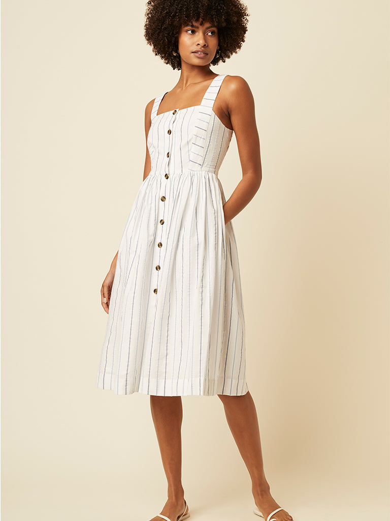 Great Plains Kyra Stripe Dress in Tangier Blue & Milk