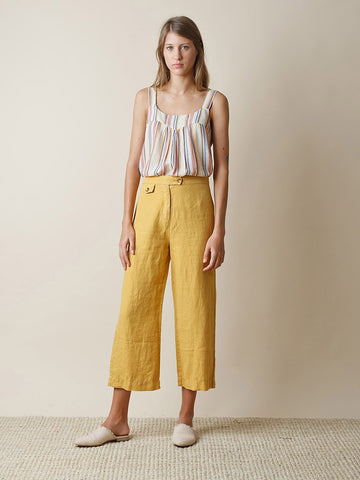 Indi & Cold Linen Garment Dye Trouser in Mustard