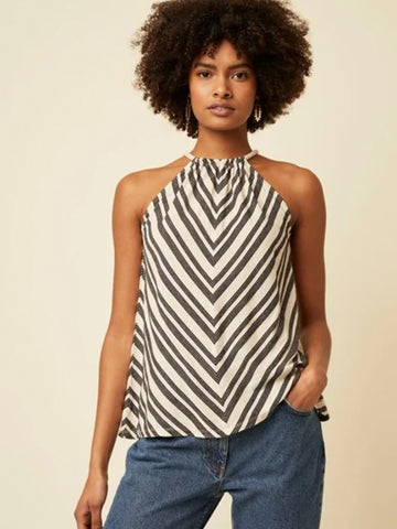 Great Plains Lumi Stripe Top in Natural & Black