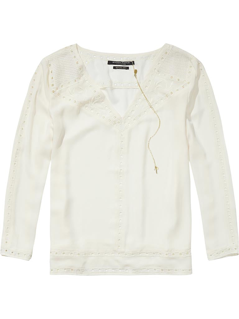 Maison Scotch Cut Out Embroidery Blouse