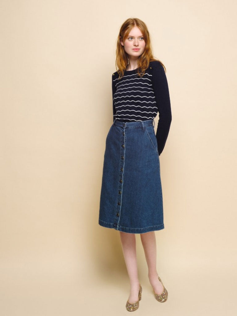 Des Petits Hauts Lupsi Denim Skirt in Blue