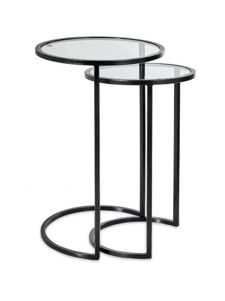 Nkuku Nakuru Iron & Glass Nesting Side Table