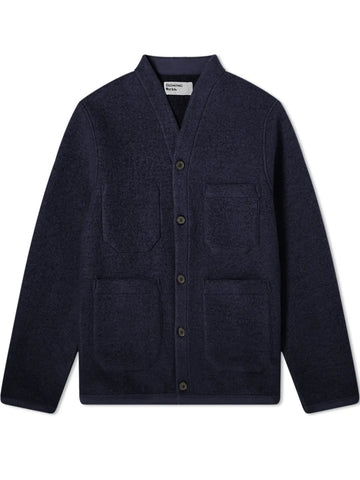 Universal Works Wool Fleece Cardigan in Navy