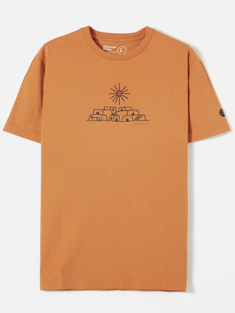Universal Works Adobe Print T-Shirt in Orange