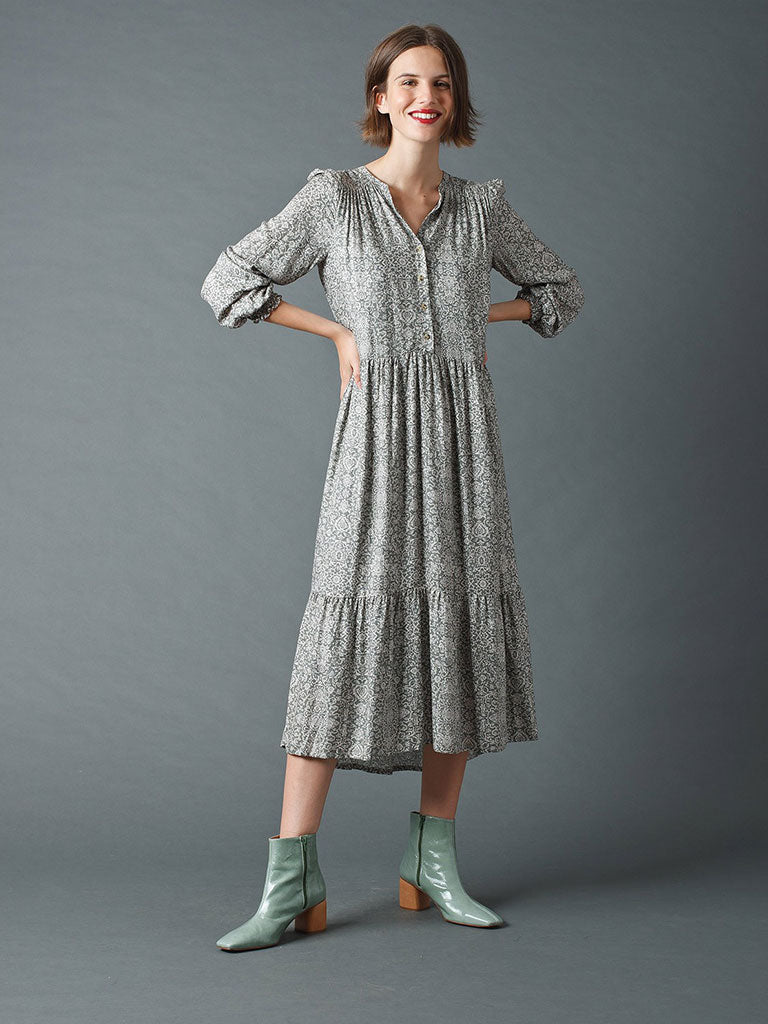 Indi & Cold Paisley Dress in Khaki