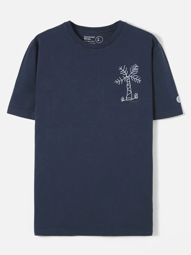 Universal Works Standard T-Shirt in Navy Palm Print
