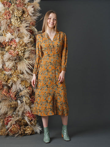 Indi & Cold Passionflower Dress in Ochre