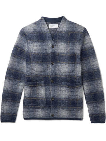 Universal Works Austin Wool Fleece Cardigan in Navy