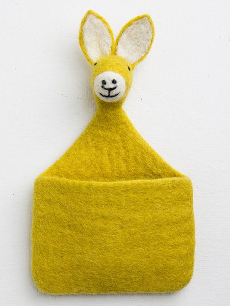 Afro Art Rabbit Wall Pocket in Yellow