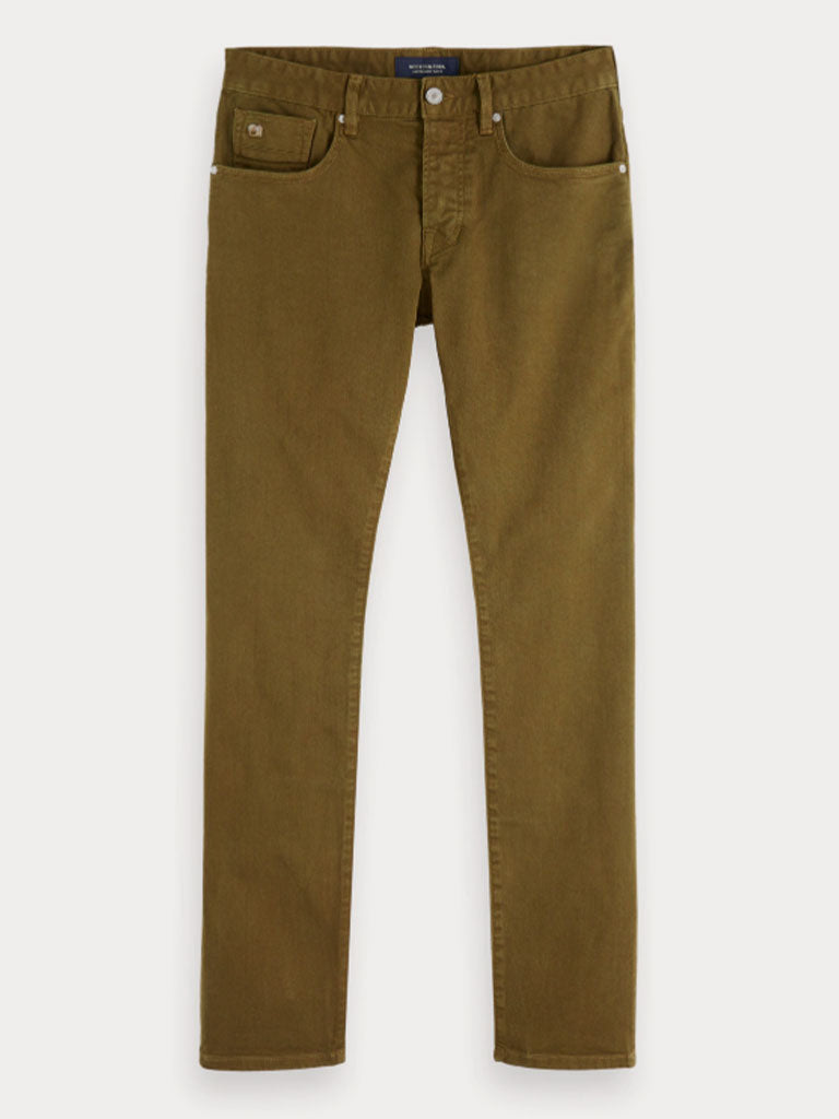 Scotch and Soda Ralston Garment Dyed Jeans in Military Green