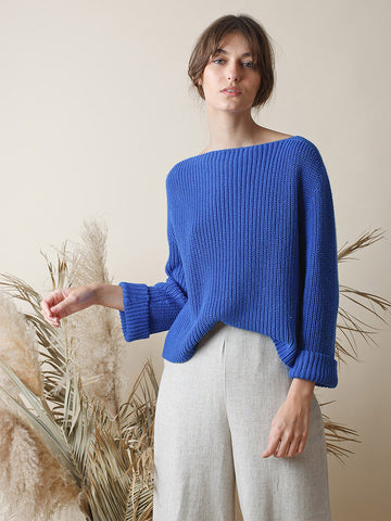 Indi & Cold Cotton Rib Sweater in Cobalt