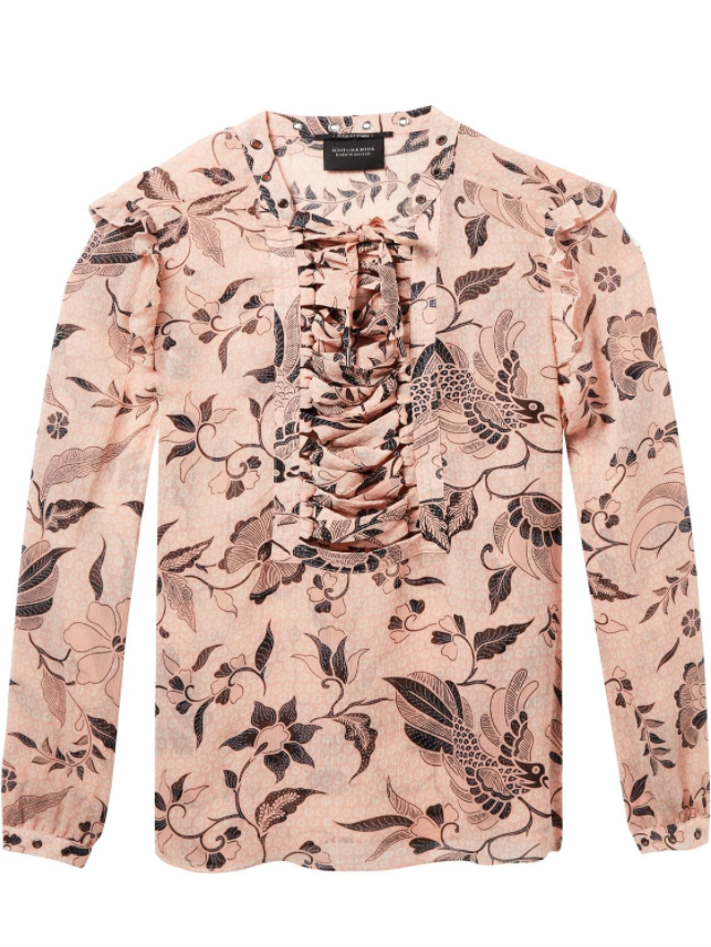 Maison Scotch Lattice Floral Blouse