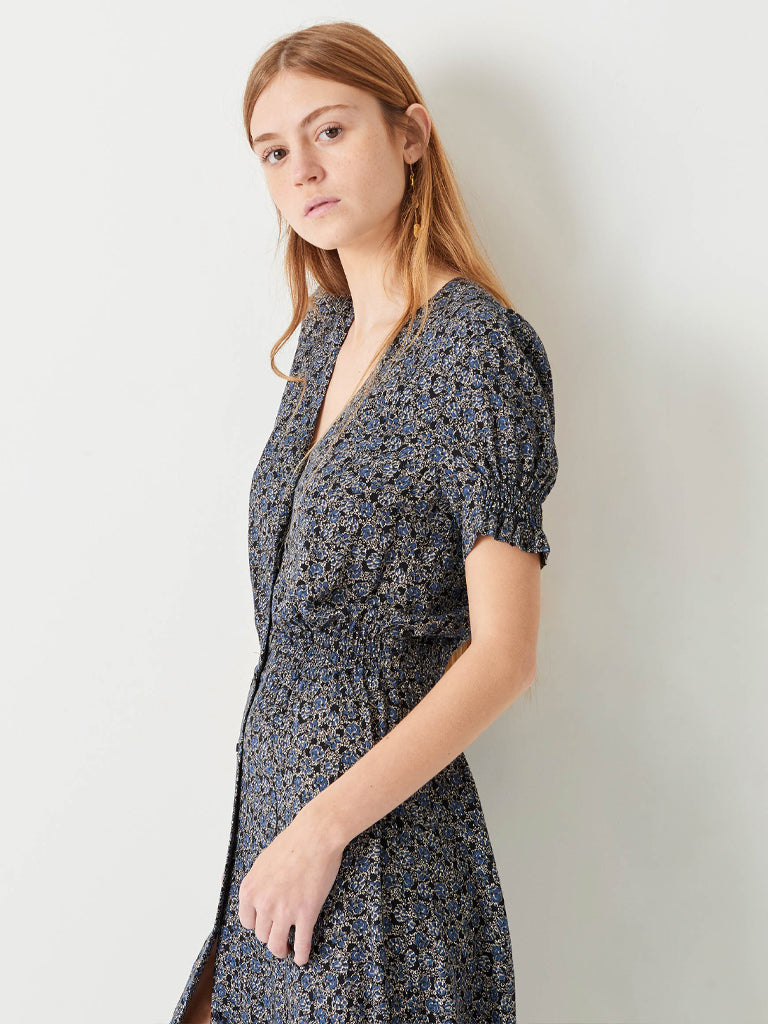 Sessun Madoura Floral Tea Dress in Denim Mio