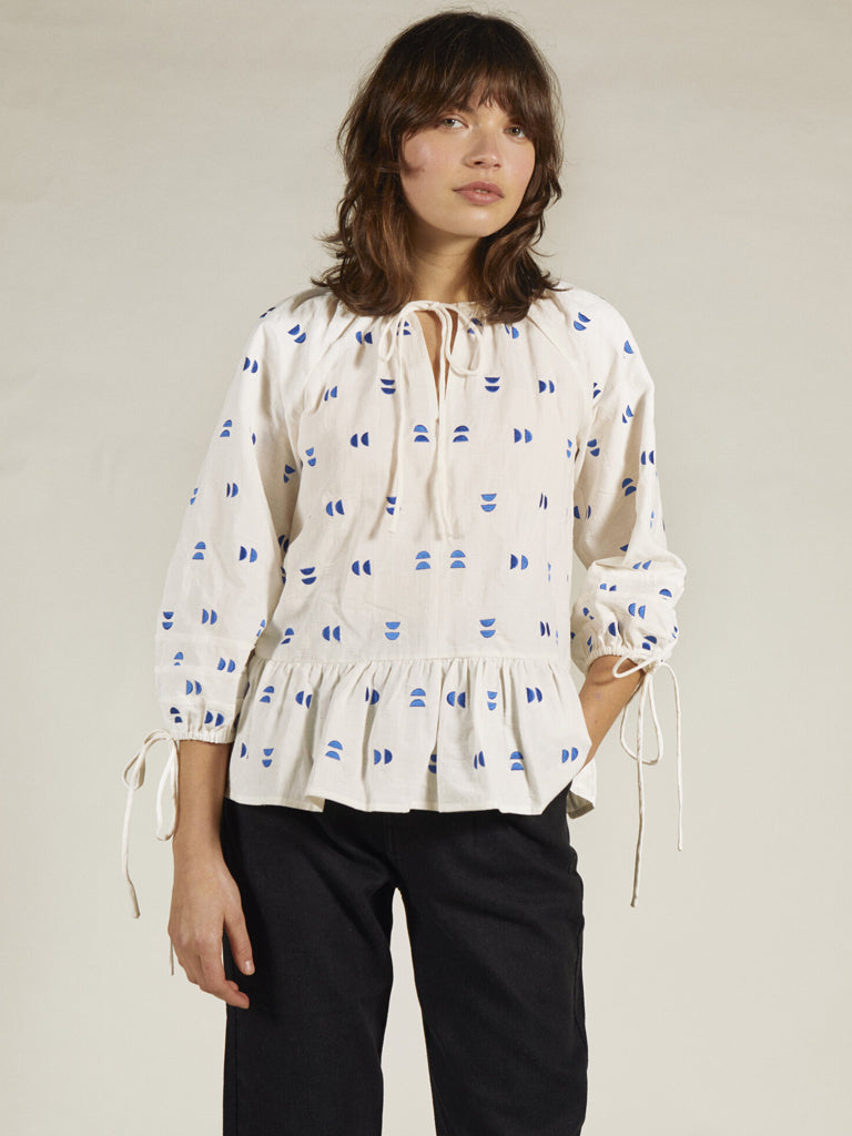 Sideline Magda Top in White with Cobalt Embroidery