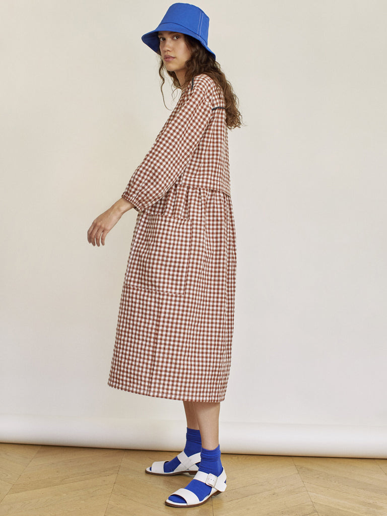 Sideline Marianne Dress in Brown Check
