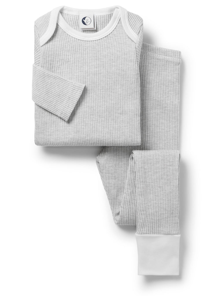 Sleepy Doe Kid's Chunky Rib Lounge Set in Pebble Rib