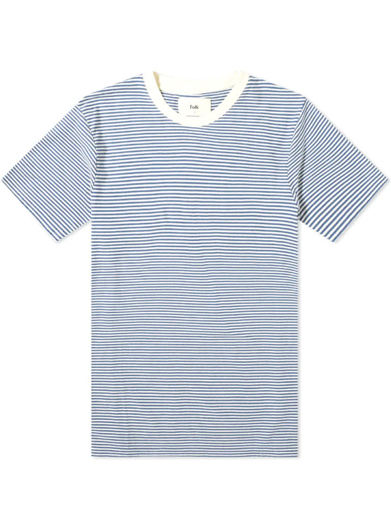 Folk 1x1 Stripe T-Shirt in Blue/Ecru