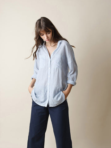 Indi & Cold Tomboy Seersucker Shirt in Blue