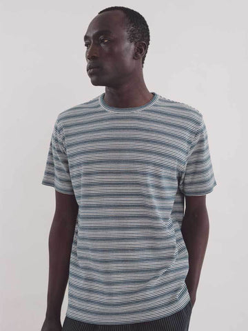 YMC Wild Ones Stripe T-Shirt in Blue