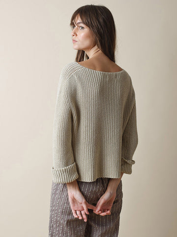 Indi & Cold Cotton Rib Sweater in Linen
