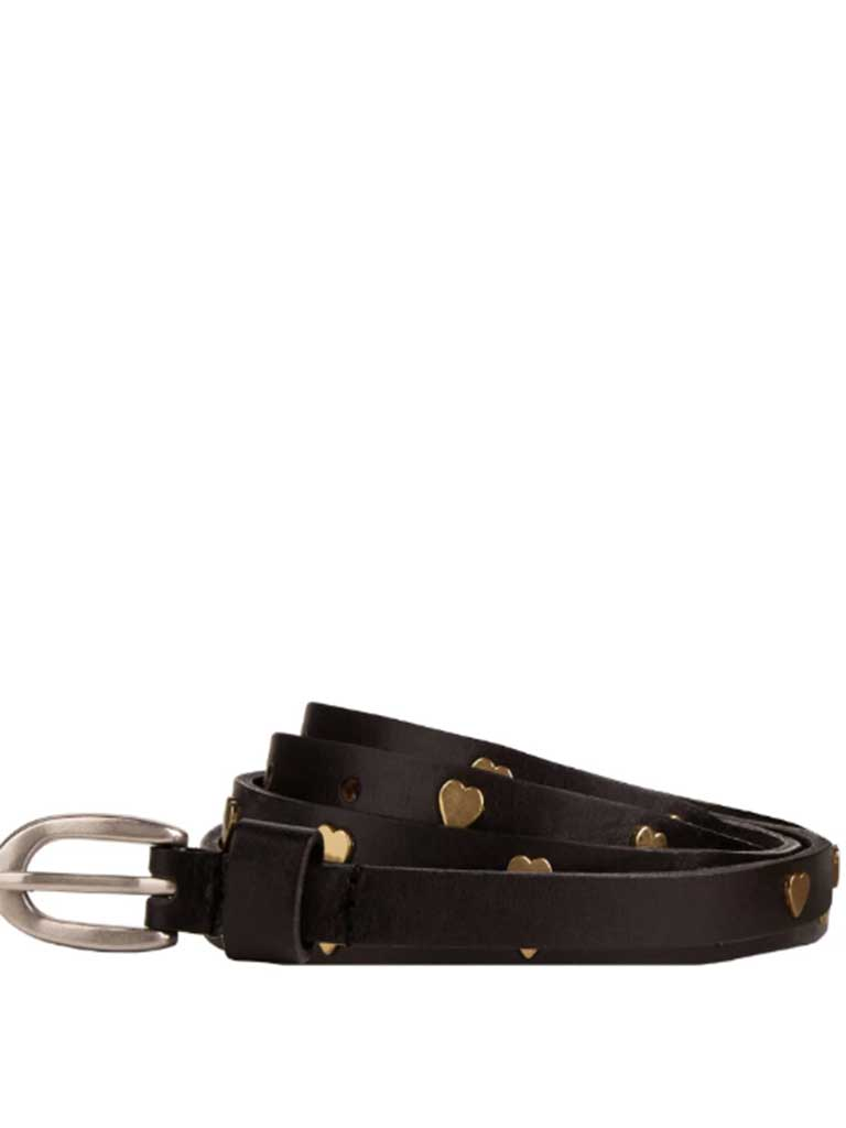 Maison Scotch Heart Belt in Black