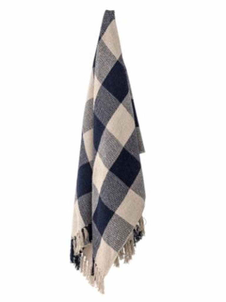 Bloomingville Recycled Cotton Checked Throw in Blue
