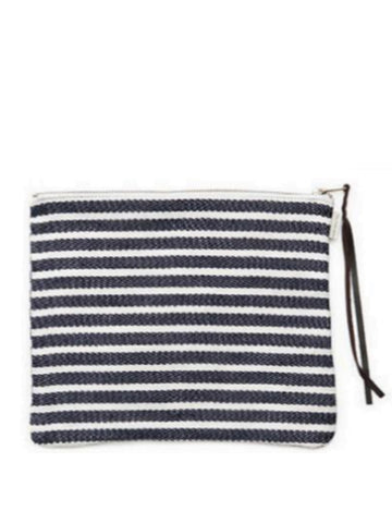 Fog Linen Work Canna Pouch in Navy Border