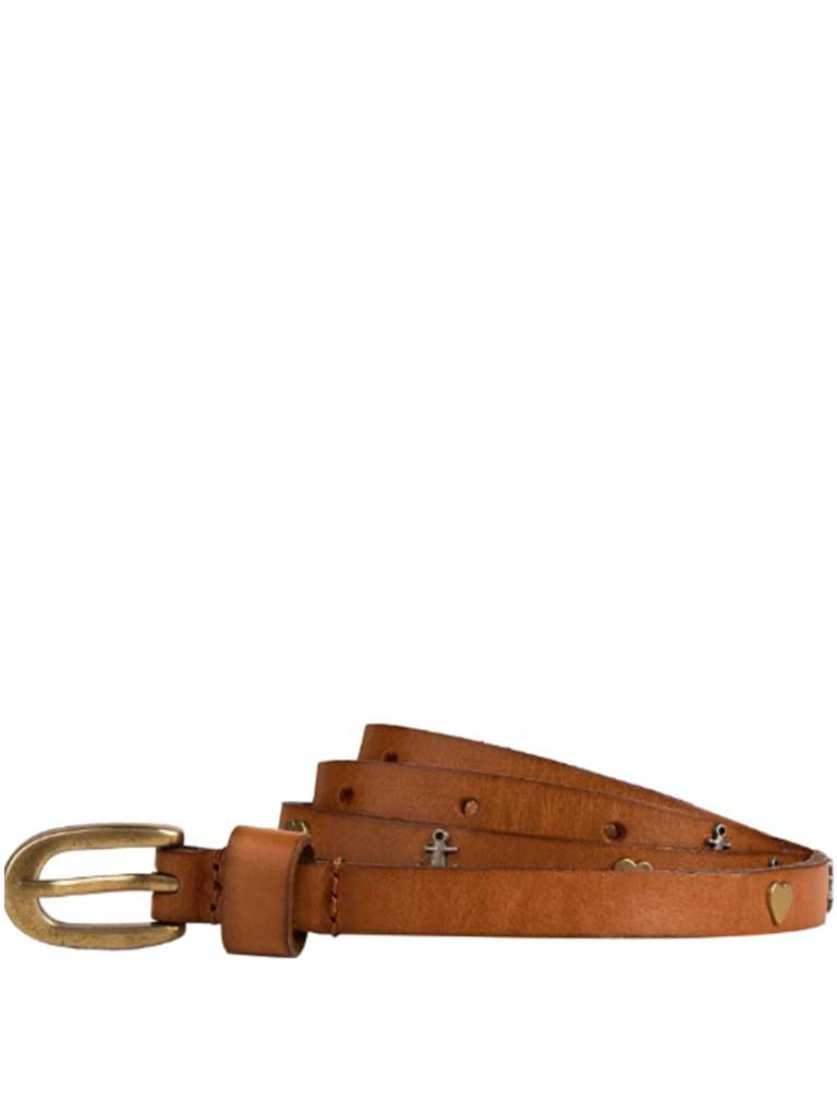 Maison Scotch Heart Belt in Brown