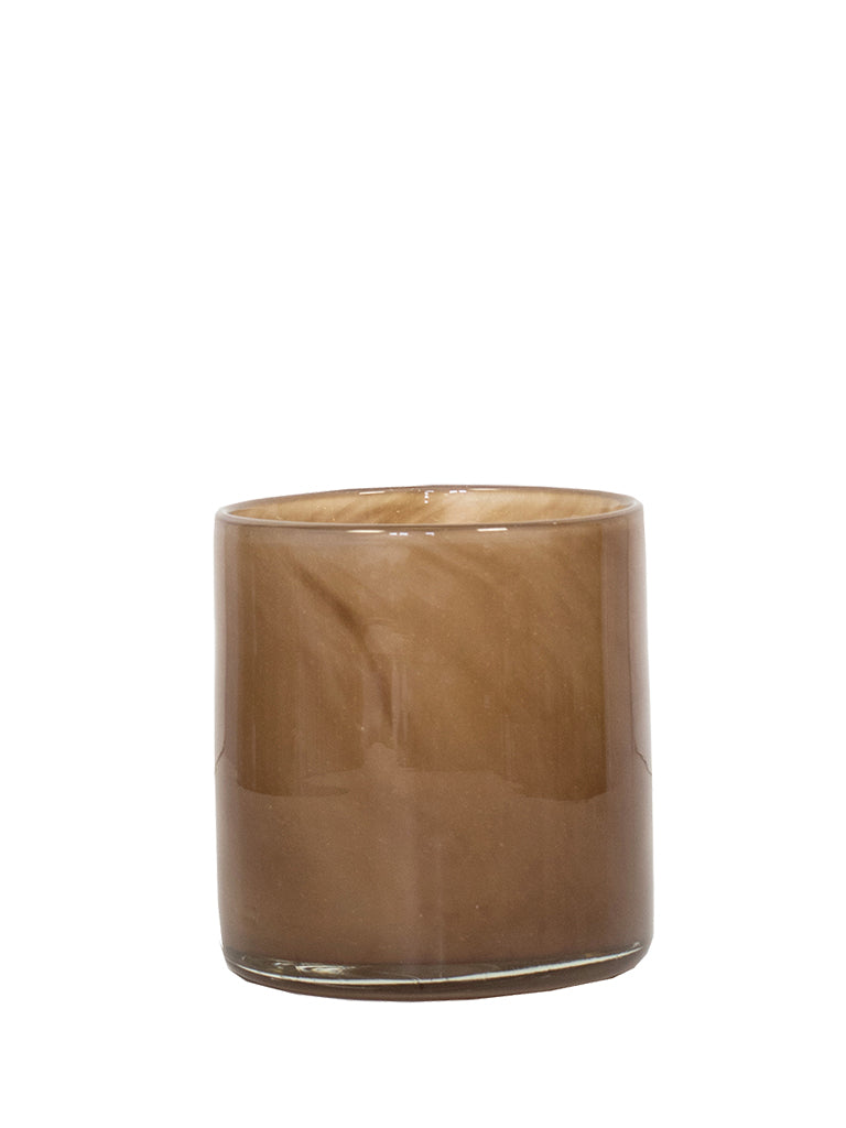 Tell Me More Small Brown Lyric Candle Holder