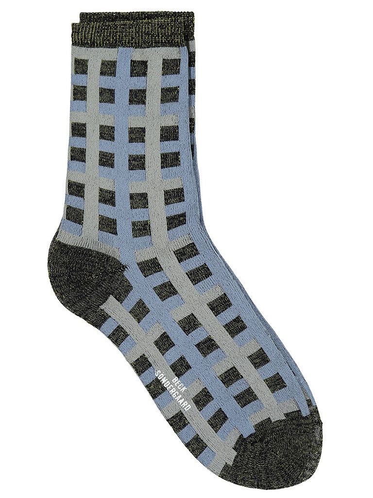 Becksondergaard Dean Check Sock in Dusty Blue