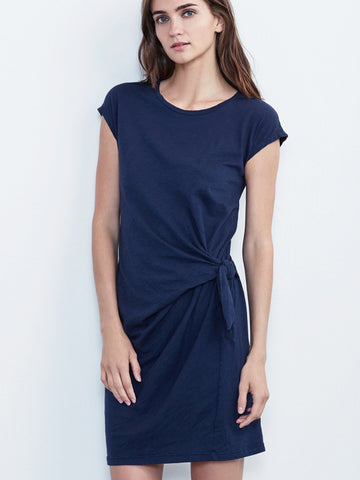 Velvet Gussie Tie Waist Dress in Ink