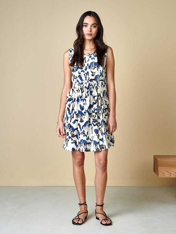 Bellerose Hoor Dress in Cream, Blue and Black