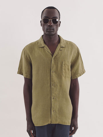 YMC Linen Malick Shirt in Olive