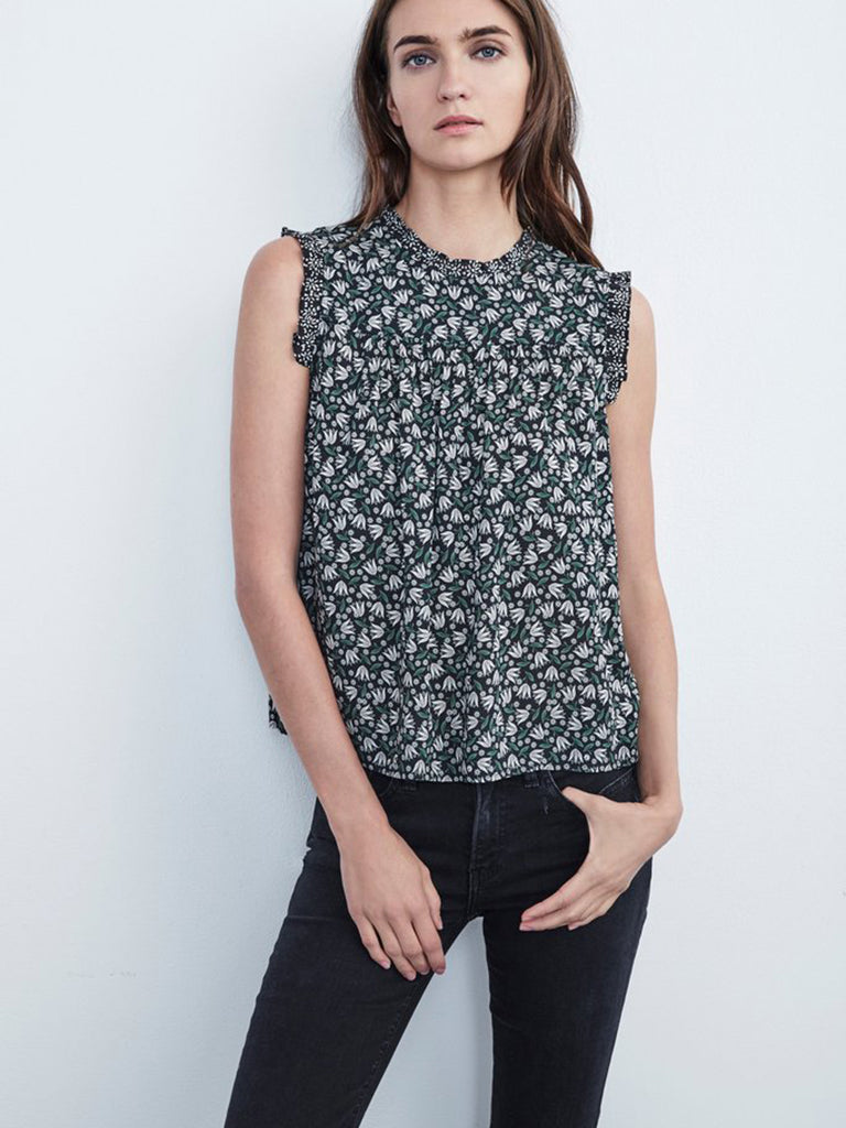 Velvet Chrissi Leaf Print Top
